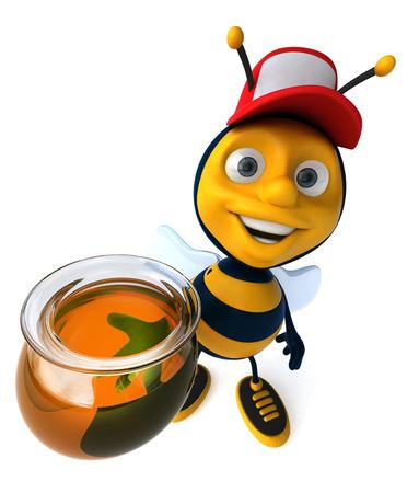 Cartoon bee with a cap and honey pot