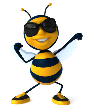 Cartoon bij met zonnebril buigen