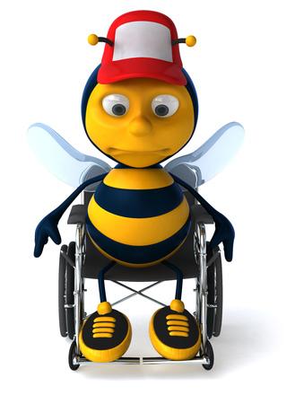 Cartoon bee with cap on a wheelchair Stock Photo