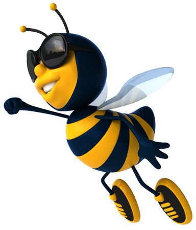 Cartoon bee with sunglasses flying Stock Photo