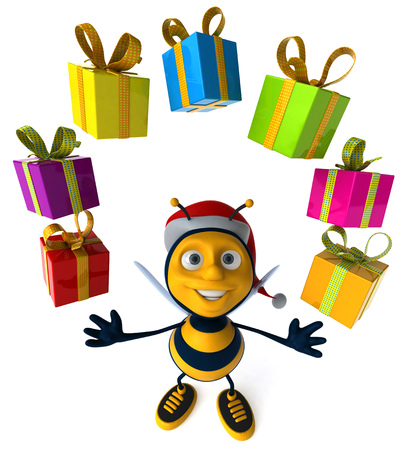 Cartoon bee with Santa hat and gift boxes Stock Photo