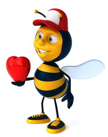 Cartoon bee with cap and heart shape concept