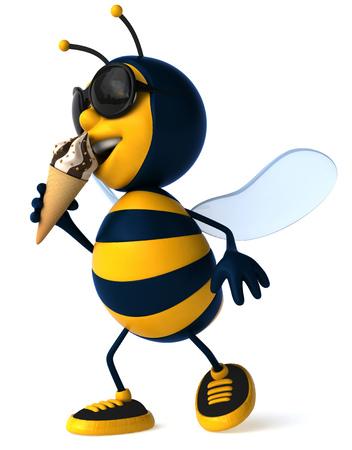 arthropod: Cartoon bee with sunglasses and ice cream Stock Photo