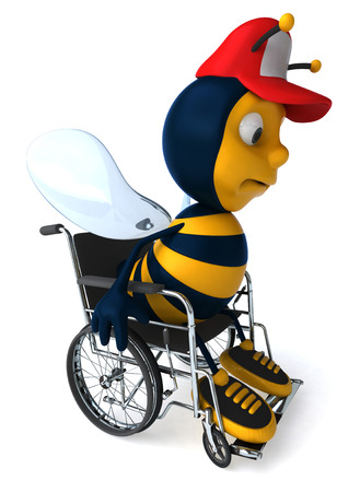 antennae: Cartoon bee with cap on a wheelchair Stock Photo