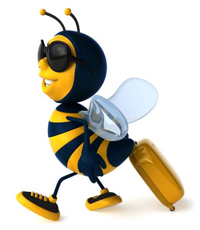 arthropod: Cartoon bee with sunglasses and luggage bag Stock Photo