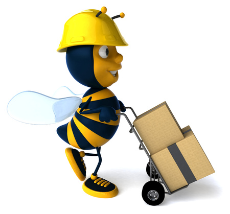 Cartoon bee with safety hat pushing trolley and boxes