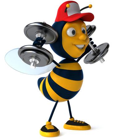 Cartoon bee with cap holding dumbbells