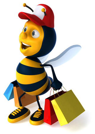 Cartoon bee with cap and shopping bags Stock Photo