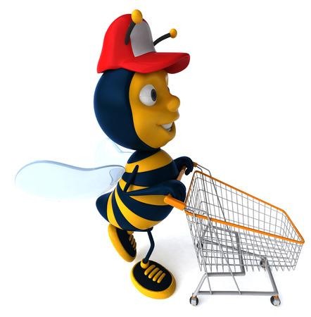 Cartoon bee with cap pushing shopping cart