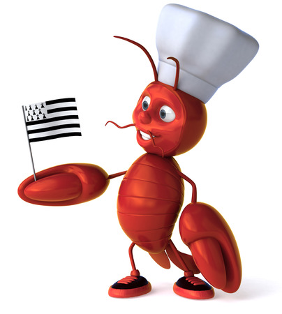 Cartoon lobster with chef hat holding Flag of Brittany
