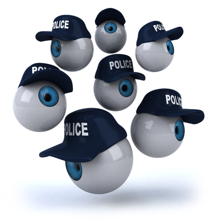 3D eyeballs with police hats Stock Photo