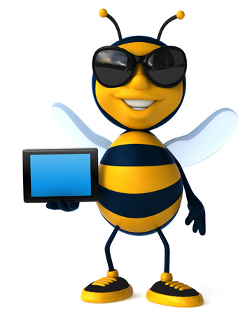 Cartoon bee with sunglasses showing a tablet computer