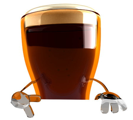3D beer character pointing downward