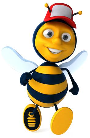 Cartoon bee with cap flying