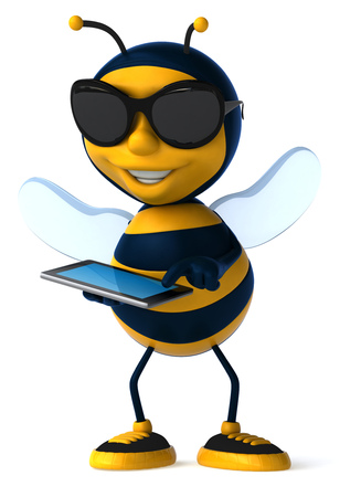 Cartoon bee with sunglasses using tablet computer Stock Photo