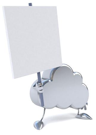eslogan: Personaje de nube 3D sosteniendo una pancarta