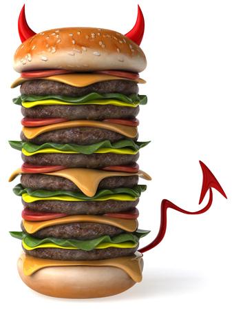 3D evil huge hamburger