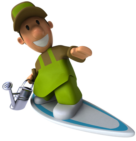 sprinkle: Cartoon gardener with watering can surfing Stock Photo