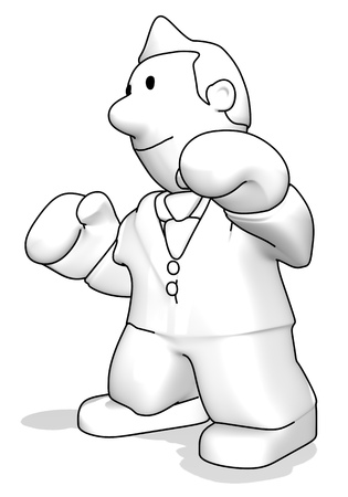 Cartoon businessman with boxing gloves posing Stock Photo