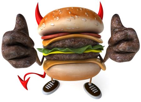 3D evil hamburger showing thumbs up gestures