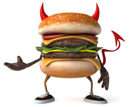 3D evil hamburger posing Stock Photo