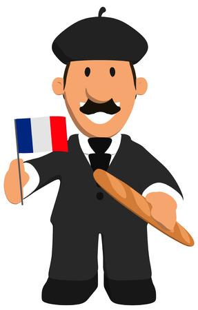 Homme d'affaires de dessin animé avec baguette et drapeau de la france Banque d'images