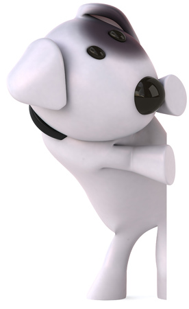 Cartoon dog peeking Stock Photo