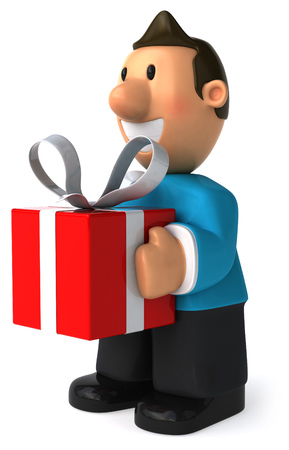 Cartoon casual man with a gift