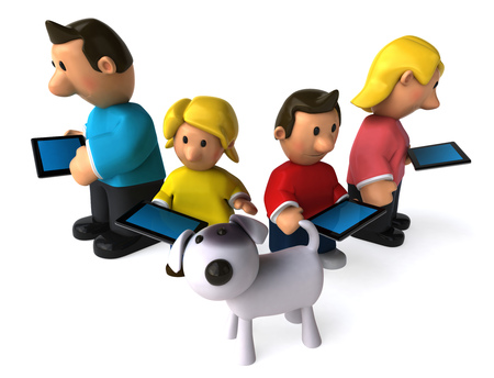 Cartoon family using tablet computer except the dog
