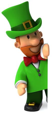 Cartoon leprechaun man peeking Stock Photo