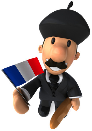 Cartoon businessman with baguette and Flag of France
