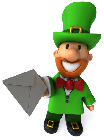 Cartoon leprechaun man offering a letter