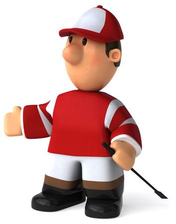 Cartoon jockey standing and posing