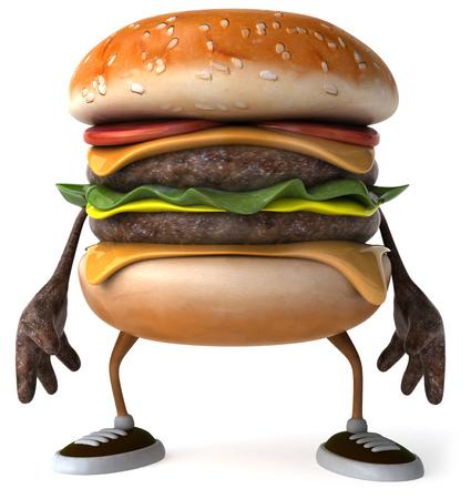 3D hamburger character standing Stock Photo