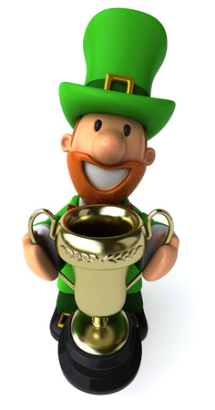 Cartoon leprechaun man holding a trophy