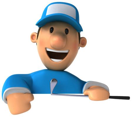 computer club: Cartoon golfer smiling Stock Photo