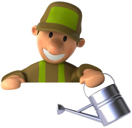 水まき缶を笑顔で漫画男 写真素材 - 81774218