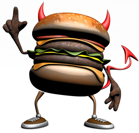 3D evil hamburger character standing and pointing