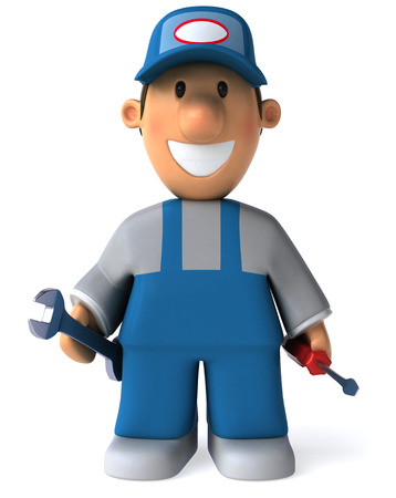 Cartoon mechanic with wrench and screwdriver