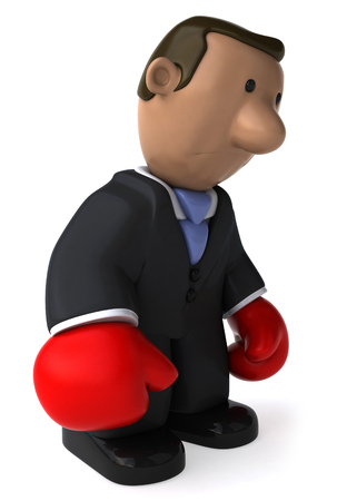 Cartoon businessman with boxing gloves feeling tired