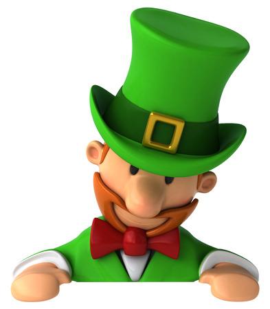 Cartoon leprechaun man looking downward