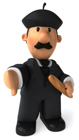 Cartoon businessman with baguette showing thumbs down gesture