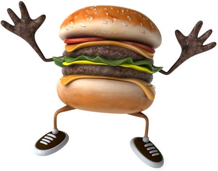 Cartoon hamburger character posing