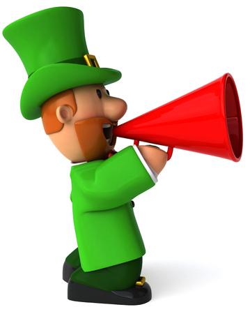st  patrick's day: Cartoon leprechaun man shouting into megaphone