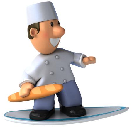 Cartoon baker with baguette surfing
