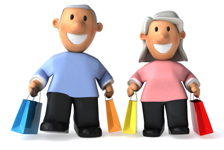 Cartoon senior couples with shopping bags Stock Photo