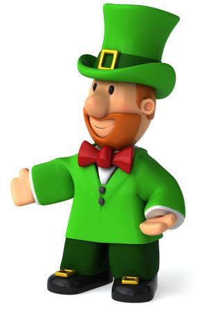 st  patrick's day: Cartoon leprechaun man posing Stock Photo