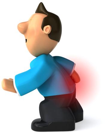 man back pain: Cartoon casual man with back pain