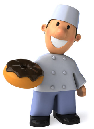 fried: Cartoon baker with donut