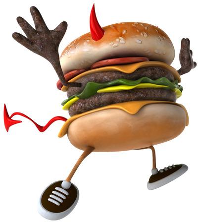 3D evil hambuger posing Stock Photo